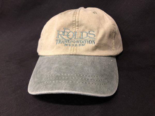 green RE Olds Transportation Museum Logo Baseball Hat