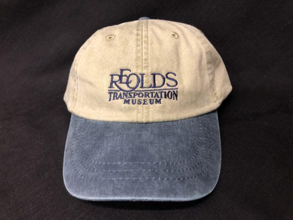blue RE Olds Transportation Museum Logo Baseball Hat